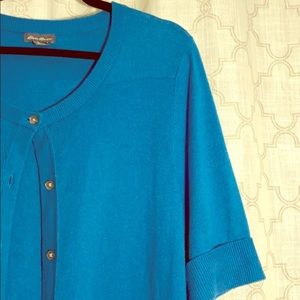 Eddie Bauer teal short sleeve cardigan sweater